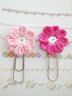 "I'm sure you could crochet these ""Paper Clip Flowers"" onto hair clips, would be so cute!        