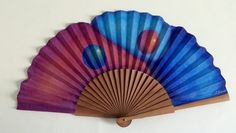 Hand painted Spanish fan, cotton and wood. Unique, for use as an exclusive accessory or piece of art for decoration by MonBrise on Etsy