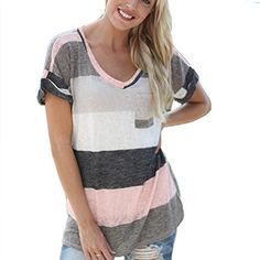 Fedi Apparel Womens Strip Bodycon Dress V Neck Striped Loose Shirt Plus Size US 14  Asian 4XL Gray2 >>> Read more  at the image link.Note:It is affiliate link to Amazon.