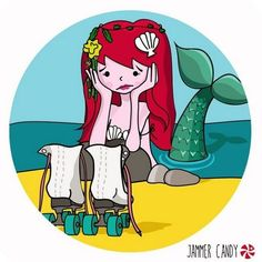 Poor mermaid, you're missing that but you're still amazing. The cutest derby art via Roller Derby Skates, Roller Rink, Roller Skating, Fb Share, Track Roller, Quad, Inline Skating, Skating Rink, Figure Skating Dresses