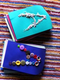 tactile letter books. Great for preschool or elementary age kids.
