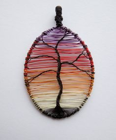Sunset Tree wire wrapped pendant.