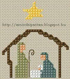Resultado de imagem para cross stitch nativity scene       http://amintkipattan.blogspot.com/2013/11/kis-betlehem.html