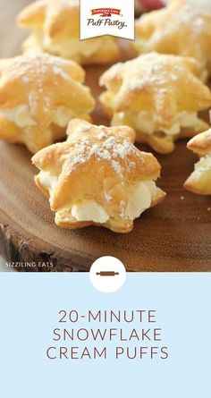 Delight your holiday guests with these 20 Minute Snowflake Cream Puffs from Amy of Sizzling Eats Simply use a cookie cutter to form Pepperidge Farm Puff Pastry Sheets int. Brownie Desserts, Oreo Dessert, Mini Desserts, Easy Desserts, Delicious Desserts, Light Desserts, Plated Desserts, Baking Recipes, Cookie Recipes