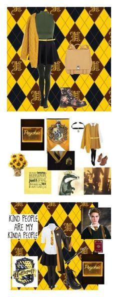 """""""Hufflepuff"""" by lalatheflamingo on Polyvore featuring WearAll, WithChic, Chicwish, Dr. Martens, Proenza Schouler, Warner Bros., Emma Watson, Boohoo, Polo Ralph Lauren and Steffen Schraut"""