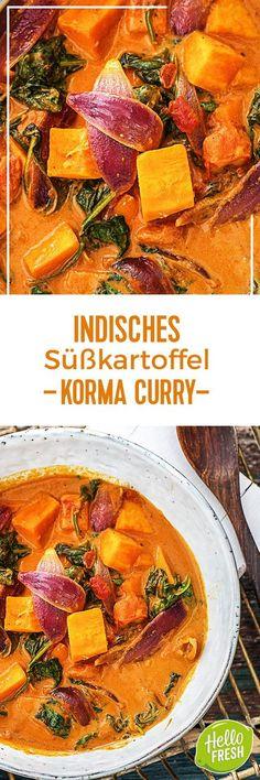 Indisches Süßkartoffel-Korma-Curry mit Babyspinat.