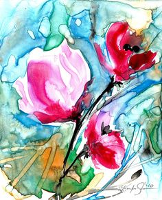 RESERVED for Fineraccents .... Floral 9 - Original Contemporary Abstract Flower Watercolor Painting by Kathy Morton Stanion EBSQ