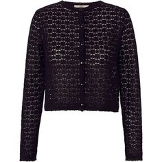 Orla Kiely Flower Lace Stitch Cardigan (3 705 UAH) ❤ liked on Polyvore featuring tops, cardigans, orla kiely, black, lacy tops, lace cardigan, lace top and flower lace top