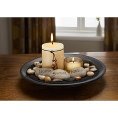 Essence Candle Set - 2 candle set including 1 holder in a decorative stone display - from our Essence range of candles, holders and gift sets