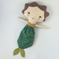 Stuffed Mermaid Doll Handmade Eco-friendly Plush Mio by miomucaro Doll Crafts, Diy Doll, Plush Dolls, Doll Toys, Mermaid Dolls, Christmas Gift Guide, Toy Store, Softies, Homemade Gifts