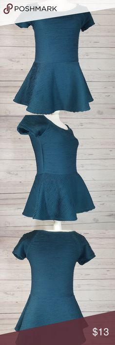 Zara Textured Peplum Top Zara W&B Collection Women's Short Sleeve Peplum Top Textured SZ 28 (S) **Confirm with measurements**  In Great Pre Owned Condition!   Please see pictures for measurements.  Ships fast - tracking included.  Thanks for looking!  Please be sure to check out my other listings!  New items posted daily! Zara Tops Tees - Short Sleeve