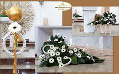 gerberka przemysl Church Flower Arrangements, Church Flowers, Altar, Table Decorations, Furniture, Home Decor, Beautiful Flower Arrangements, Weddings, Decoration Home