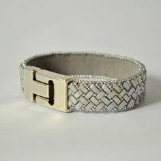Cuff Bracelet, Grey and Silver Beaded Bracelet, Herringbone Bracelet, Uk Seller. by WishWantDesire on Etsy https://www.etsy.com/listing/226708344/cuff-bracelet-grey-and-silver-beaded