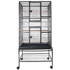 SUNCOO Large Bird Cage for Parrot Budgie Parakeet Cockatoo Cocatiel Iron Bird Aviary with Stand Pet Supply Black H) Parakeet Food, Budgie Parakeet, Budgies, Parrots, Big Bird Cage, Large Bird Cages, Macaw Cage, Finch Cage, Cockatiel Cage