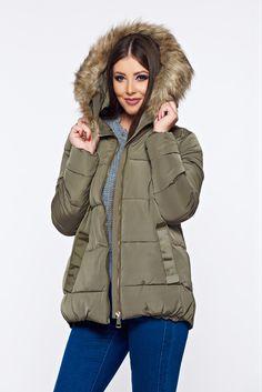 Top Secret green casual jacket from slicker with undetachable hood, inside lining, women`s jacket, undetachable hood, faux fur details, slicker fabric, zipper fastening