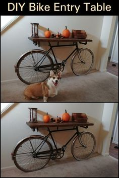 Is there an old bicycle that's been sitting in your garage for way too long? Bring it back to life by turning it into a bike entry table DIY Bike Entry Table