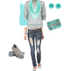 Turquoise ... cute outfit (if the sweater was a bit longer)