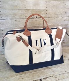 Monogram Weekender Bag - Monogrammed Canvas Leather Weekender - 6 Colors - Preppy Overnight bag - Personalized Luggage - Bridesmaid Gift by MaBrownMercantile on Etsy https://www.etsy.com/listing/239305240/monogram-weekender-bag-monogrammed