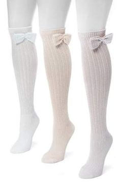 04245345fd8 MUK LUKS Women s 3 Pair Pack Pointelle Bow Knee High Socks