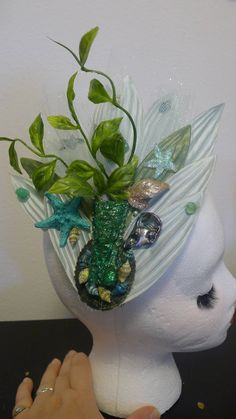 Tiki Silk Flower Hair Clip, Fascinator, Resin, Starfish, Paua Shell, Seashells, Hawaii, Pin Up, Luau, Hula Girls, Mermaid, Tiki Oasis, OOAK. by princessmadisonparis on Etsy