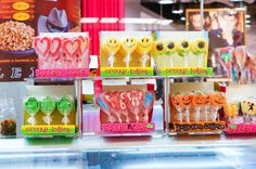 Crazy lollies - POZNAN, POLAND - NOVEMBER 26, 2013: Colorful lollies in different shapes for sale in the Galeria Malta shopping mall