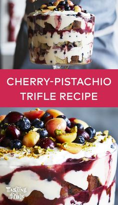 Blueberry pound cake is layered with grapefruit pastry cream, stewed cherries and pistachios for a bright summer dessert fit for a crowd.