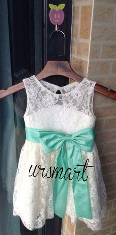 ivory Lace Flower Girl Dress Infant Toddler Bridal by Ursmart