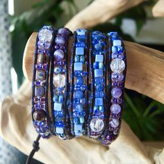 GRADIENT Purple/Blue 5Wrap Leather by BraceletsofBlueRidge on Etsy