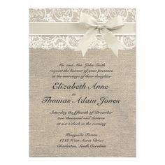 Ivory Lace & Burlap Wedding Invitation