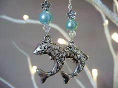 Dolphin earrings, lattice dolphin earrings, turquoise earrings, Tibetan silver earrings, beaded earrings, ocean earrings - by Tamara Harris by THWoodlandCreatures on Etsy