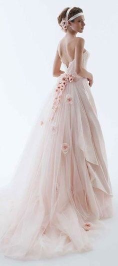 pink tulle strapless A-line flowers long train sweetheart romantic