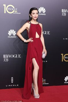 Li Bingbing in a Saint Laurent gown with Cindy Chao jewels at Vogue China's 10th Anniversary Gala Dinner on October 27, 2015