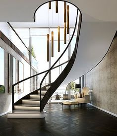"""We can also play with the look — its width, treads, risers and materials. Storage can be included, with bookcases for example, but also the stair can wrap around tight spaces or run up a double height space."" Architect Michael Crowley adds: ""The design of a staircase is not purely an aesthetic decision. This is one of the crucial elements of the house because you don't only see it and utilise it, but daily you touch it. It's the tactile centre of the building."" #staircase"