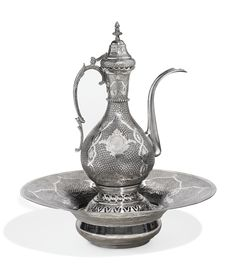 A large Ottoman silver ewer and basin with tughra of Abdülhamid II Turkey, circa century Islamic World, Islamic Art, Ottoman Turks, Large Ottoman, Copper Art, Arabic Art, Jewish Art, Art Auction, Hand Engraving