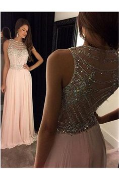 A-Line Scoop Prom Dress,Sleeveless Chiffon Dusty Pink Long Prom Dress with Beads Stones and Crystals by DestinyDress, $197.31 USD