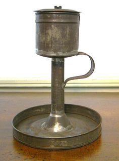 Antique 19th C Pennsylvania German Tinsmithed TIN SCARCE Removable Font FAT LAMP #Americana