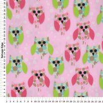 Happy Owls on Pink Fleece Fabric