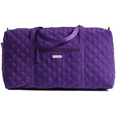 Vera Bradley Large Duffel Travel Bag in Elderberry ($108) ❤ liked on Polyvore featuring bags and luggage