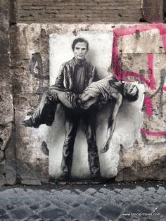 Street art tributes to Pier Paolo Pasolini in Rome.