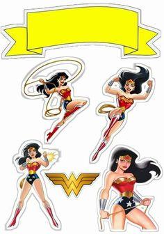 Mujer Maravilla Retro: Toppers para Tartas, Tortas, Pasteles, Bizcochos o Cakes para Imprimir Gratis.