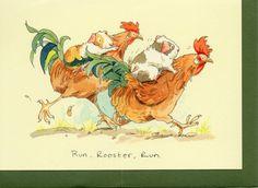 Anita Jeram greeting card - Run, Rooster, Run