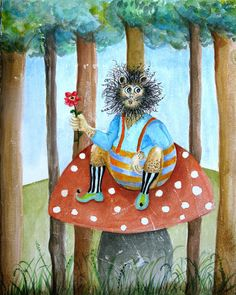 Giclee on Paper fun creature whimsical art print on paper fun image forest creature on mushroom,  https://www.etsy.com/listing/217970187/giclee-on-paper-fun-creature-whimsical?ref=shop_home_active_1