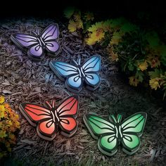In-Ground Solar Butterfly Lights, Set of 4-363593