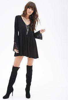 Crochet Sleeves Babydoll Dress | FOREVER21 - 2000122655