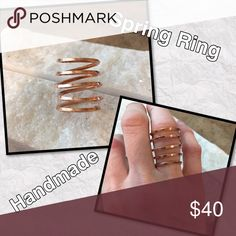 """🙋🏻💕Handmade Rose gold Square filled spring Ring 5 spaced rings , size 5 rose gold filled square wire, 1"""" high simple and stunning handmade by me emmabells Jewelry"""