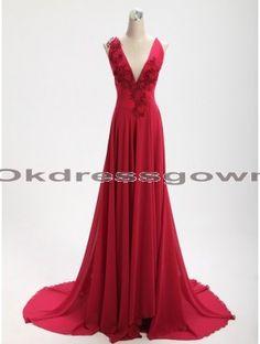 Sexy V Neck red prom dress