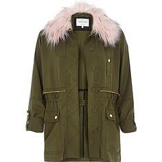 Khaki pink fur trim casual military jacket £55 #riverisland #khaki