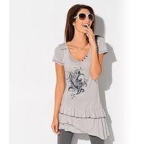 Asymetrická volánová tunika | modino.sk #modino_sk #modino_style #style #fashion #blancheporte Lingerie, Peplum, T Shirts For Women, Fashion, Linens, Men Wear, Woman, Tunic, Moda