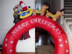 6' Archway Arch Inflatable Santa Sleigh & Reindeer Air Christmas