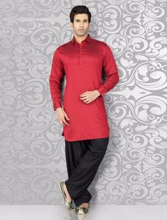 Classy plain red black cotton pathnai suit Pathani For Men, Pathani Kurta, Mens Suits Online, Ethenic Wear, Designer Clothes For Men, Sherwani, Festival Wear, Wedding Suits, Black Cotton